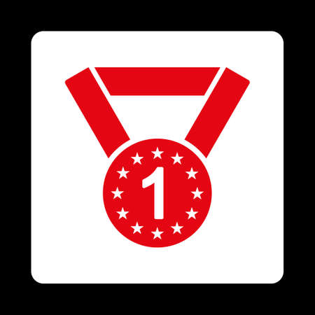 favorite number: First medal icon. Icon style is red and white colors, flat rounded square button, black background.