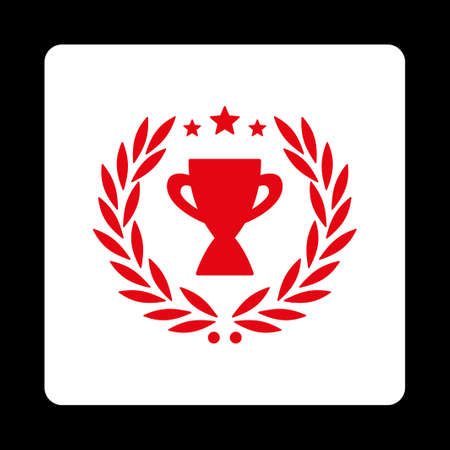 cognizance: Glory icon. Icon style is red and white colors, flat rounded square button, black background.