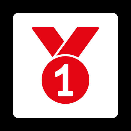 favorite number: Gold medal icon. Icon style is red and white colors, flat rounded square button, black background. Illustration