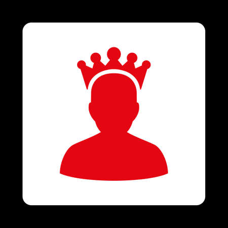 czar: King icon. Icon style is red and white colors, flat rounded square button, black background.