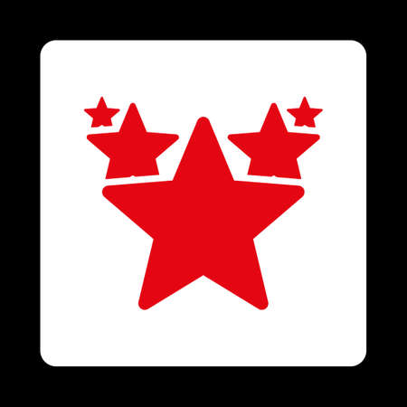 parade: Hit parade icon. Icon style is red and white colors, flat rounded square button, black background.