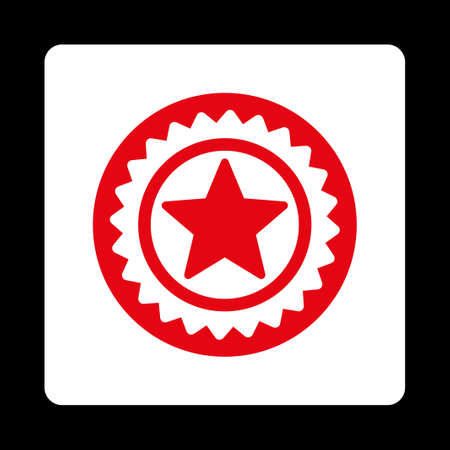 favorite number: Medal seal icon. Icon style is red and white colors, flat rounded square button, black background.
