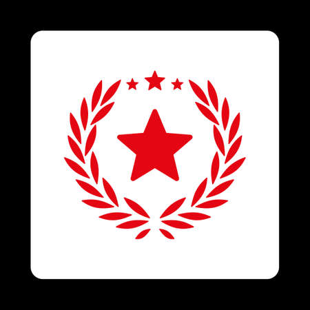 cognizance: Proud icon. Icon style is red and white colors, flat rounded square button, black background. Illustration