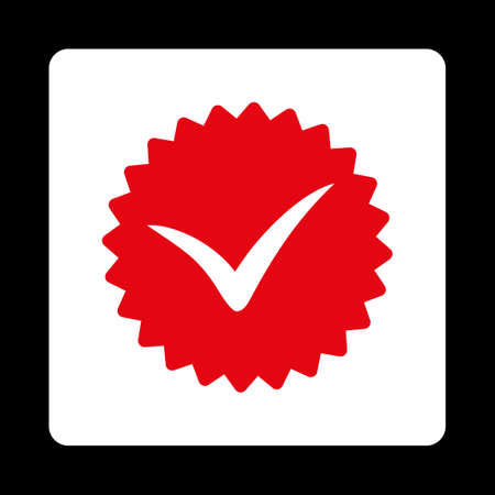 favorite number: Quality icon. Icon style is red and white colors, flat rounded square button, black background.