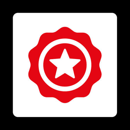 approval rate: Reward seal icon. Icon style is red and white colors, flat rounded square button, black background.