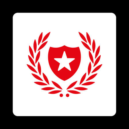 cognizance: Shield icon. Icon style is red and white colors, flat rounded square button, black background.