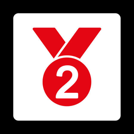 silver medal: Silver medal icon. Icon style is red and white colors, flat rounded square button, black background.