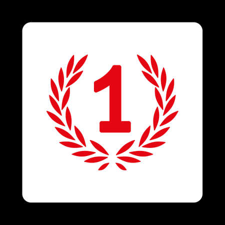 cognizance: Win icon. Icon style is red and white colors, flat rounded square button, black background.