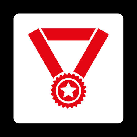 favorite number: Winner medal icon. Icon style is red and white colors, flat rounded square button, black background.