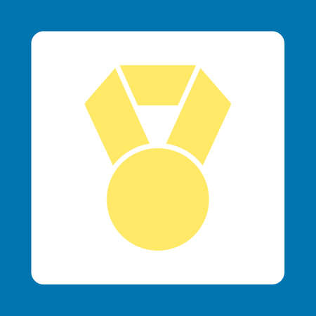 favorite number: Achievement icon. Icon style is yellow and white colors, flat rounded square button, blue background. Illustration