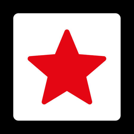 isolated on red: Star icon. Icon style is red and white colors, flat rounded square button, black background. Illustration