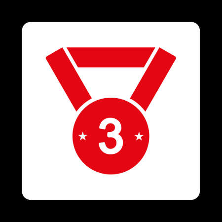 favorite number: Third medal icon. Icon style is red and white colors, flat rounded square button, black background.