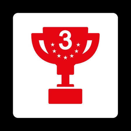 bronze bowl: Third prize icon. Icon style is red and white colors, flat rounded square button, black background.