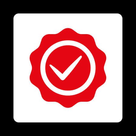 valid: Valid icon. Icon style is red and white colors, flat rounded square button, black background. Illustration