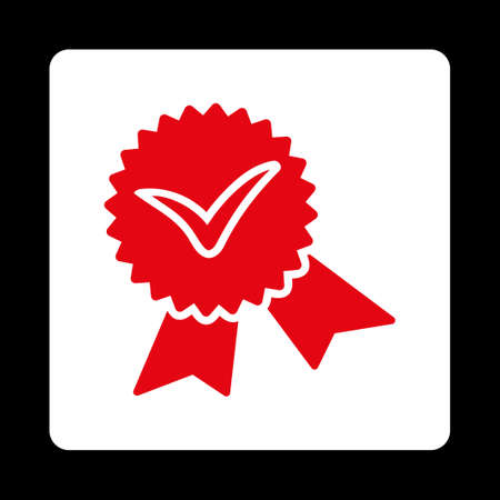 validation: Validation seal icon. Icon style is red and white colors, flat rounded square button, black background.
