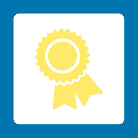 favorite number: Certification icon. Icon style is yellow and white colors, flat rounded square button, blue background.