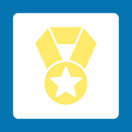 favorite number: Champion medal icon. Icon style is yellow and white colors, flat rounded square button, blue background. Illustration