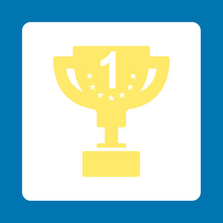 first prize: First prize icon. Icon style is yellow and white colors, flat rounded square button, blue background.