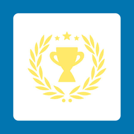 cognizance: Glory icon. Icon style is yellow and white colors, flat rounded square button, blue background.