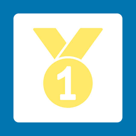 favorite number: Gold medal icon. Icon style is yellow and white colors, flat rounded square button, blue background. Illustration
