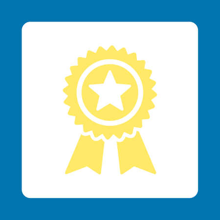 blue star background: Guarantee icon. Icon style is yellow and white colors, flat rounded square button, blue background.