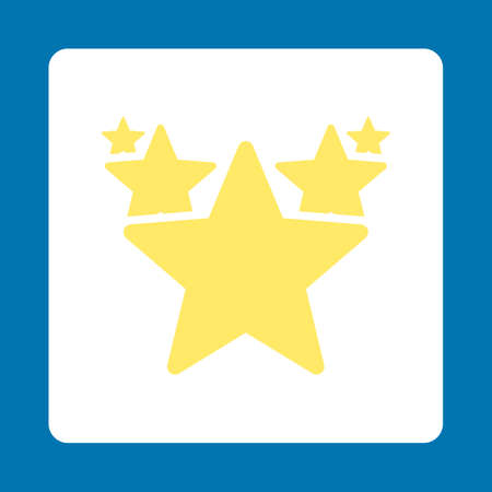 medal like: Hit parade icon. Icon style is yellow and white colors, flat rounded square button, blue background.