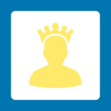 czar: King icon. Icon style is yellow and white colors, flat rounded square button, blue background.