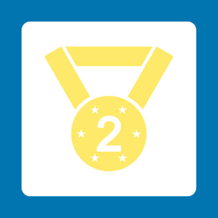 favorite number: Second medal icon. Icon style is yellow and white colors, flat rounded square button, blue background.
