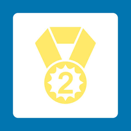 favorite number: Second place icon. Icon style is yellow and white colors, flat rounded square button, blue background.