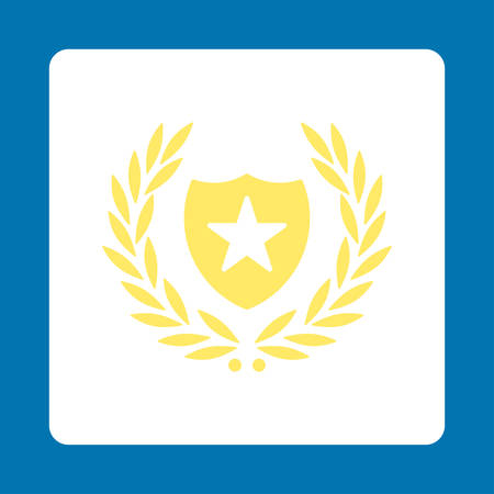cognizance: Shield icon. Icon style is yellow and white colors, flat rounded square button, blue background.