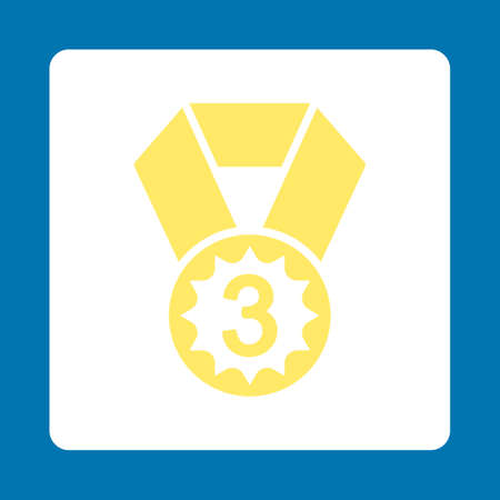 favorite number: Third place icon. Icon style is yellow and white colors, flat rounded square button, blue background.