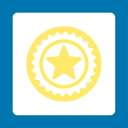 favorite number: Medal seal icon. Icon style is yellow and white colors, flat rounded square button, blue background.