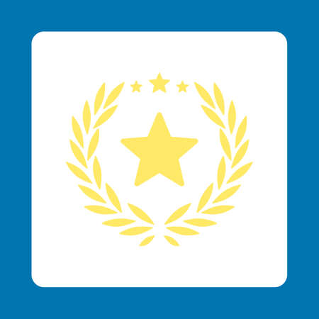 laureate: Proud icon. Icon style is yellow and white colors, flat rounded square button, blue background.