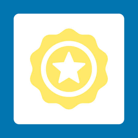 favorite number: Reward seal icon. Icon style is yellow and white colors, flat rounded square button, blue background.