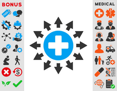 medical distribution: Pharmacy Distribution vector icon. Style is bicolor flat symbol, blue and gray colors, rounded angles, white background.