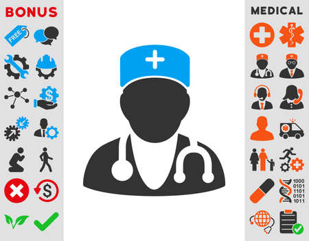 медик: Physician vector icon. Style is bicolor flat symbol, blue and gray colors, rounded angles, white background. Иллюстрация