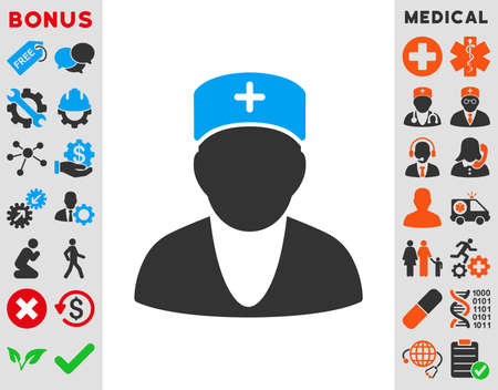 Doctor vector icon. Style is bicolor flat symbol, blue and gray colors, rounded angles, white background. Illustration