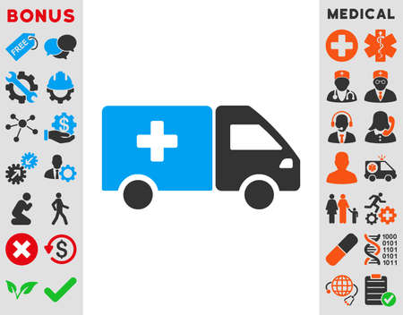 family van: Drug Shipment vector icon. Style is bicolor flat symbol, blue and gray colors, rounded angles, white background.