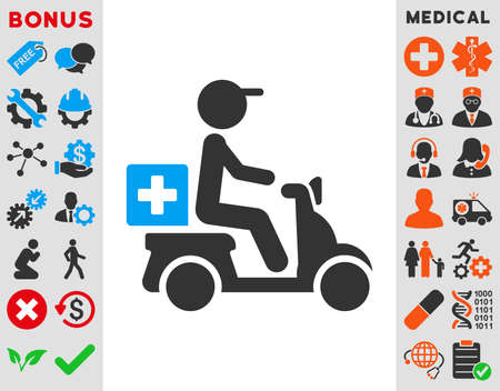 Drugs Motorbike Delivery vector icon. Style is bicolor flat symbol, blue and gray colors, rounded angles, white background.