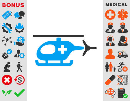 medics: Emergency Helicopter vector icon. Style is bicolor flat symbol, blue and gray colors, rounded angles, white background.