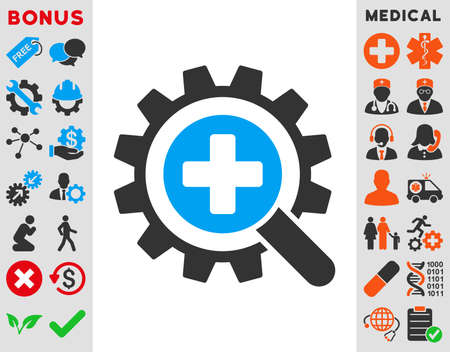 medical technology: Find Medical Technology vector icon. Style is bicolor flat symbol, blue and gray colors, rounded angles, white background.