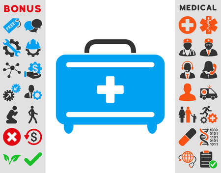 addition: First Aid Toolkit vector icon. Style is bicolor flat symbol, blue and gray colors, rounded angles, white background. Illustration