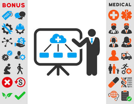 egészségügyi ellátás: Health Care Report vector icon. Style is bicolor flat symbol, blue and gray colors, rounded angles, white background.