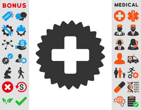 addition: Health Care Stamp vector icon. Style is bicolor flat symbol, blue and gray colors, rounded angles, white background.