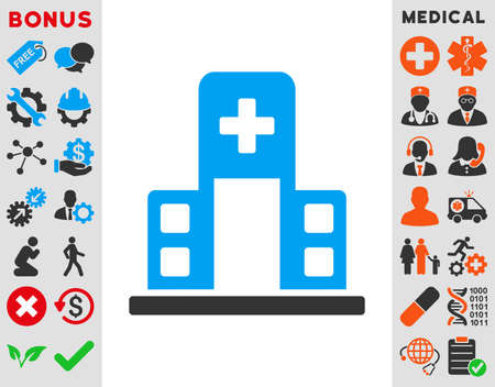 polyclinic: Hospital Building vector icon. Style is bicolor flat symbol, blue and gray colors, rounded angles, white background. Illustration