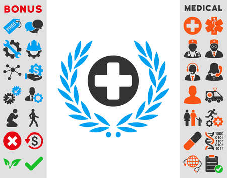 Health Care Embleme vector icon. Style is bicolor flat symbol, blue and gray colors, rounded angles, white background.