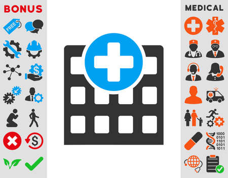 polyclinic: Hospital vector icon. Style is bicolor flat symbol, blue and gray colors, rounded angles, white background. Illustration
