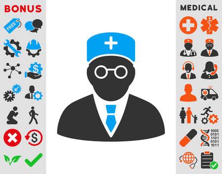 медик: Главная Врач вектор икона. Стиль биколор плоским символ, синий и серый цвета, округлые углы, на белом фоне.