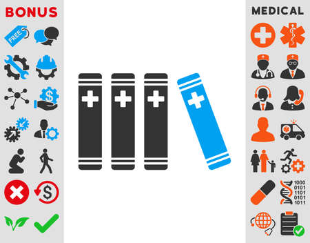 periodicals: Medical Books vector icon. Style is bicolor flat symbol, blue and gray colors, rounded angles, white background.
