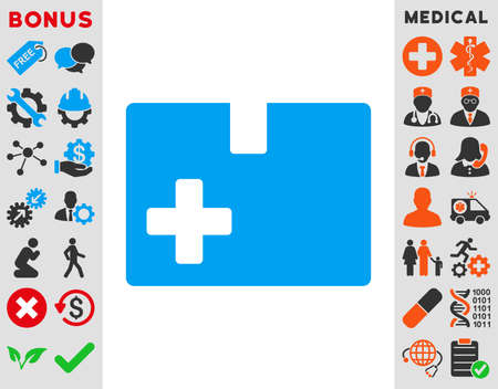 medical box: Medical Box vector icon. Style is bicolor flat symbol, blue and gray colors, rounded angles, white background.